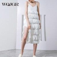 WQJGR 2018 News Summer Dress White Sleeveless Camisole Vest Sexy Party Dress Women