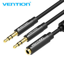 Vention Earphone Splitter for Computer Laptop 3.5mm Female to 2 Male 3.5mm Mic Headphone Audio Extension Cable Y Splitter Cable(China)