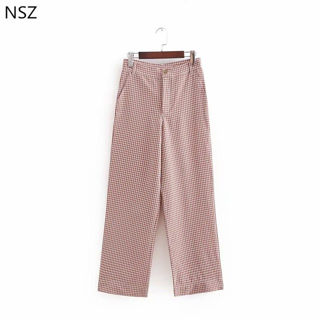 97ae37cd6d55d Women Pink Plaid Wide Leg Pant Check Trousers Loose Straight Female Autumn  Casual Ankle-Length