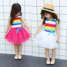 Children's dress summer new Korean version of foreign style girl rainbow mesh vest dress baby lovely princess gauze dress new pattern girl princess foreign trade sleeping princess show serve thick dress mesh