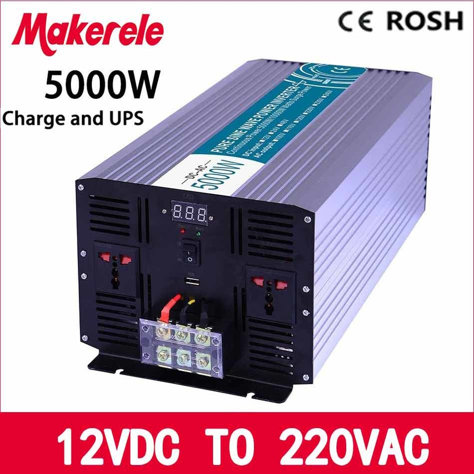 MKP5000-122-C Pure Sine Wave off grid UPS inverter 5000w 12v to 220v solar inverter voltage converter with charger and UPS