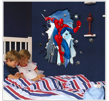 Dream home 3D new spider-man super large removable wall stickers living room TV background
