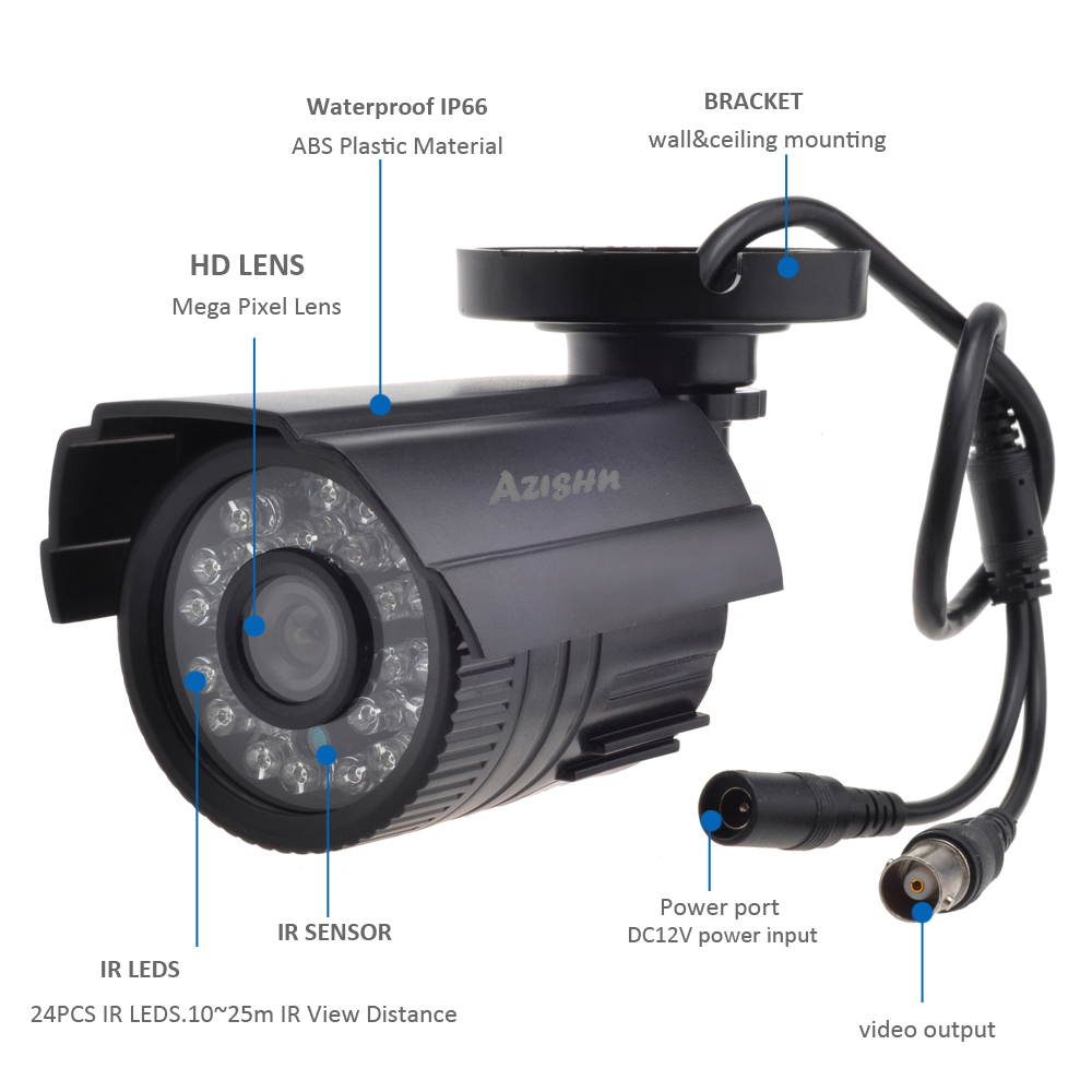Image 4 - AZISHN CCTV Camera 800TVL/1000TVL  IR Cut Filter 24 Hour Day/Night Vision Video Outdoor Waterproof IR Bullet Surveillance Camera-in Surveillance Cameras from Security & Protection