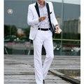Новые Стильные Мужские Вскользь Тонкой Пригонки Одна Кнопка Костюм Поп Blazer Куртки Пальто Белый