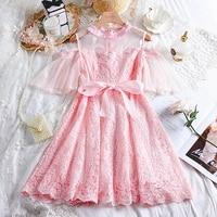 Adomoe Junior's Dresses Summer Sweet Kawaii Pink Dresses Cute Lace Dress Soft Sister Ribbon Bow Patchwork Short Teens Vestidos