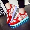 Мужчины Led Обувь Для Взрослых Мужчин Блестящие Случайные 2017 Новый Стиль Девушки Красный Освещенный Светодиодной iluminadas Zapatos Обувь