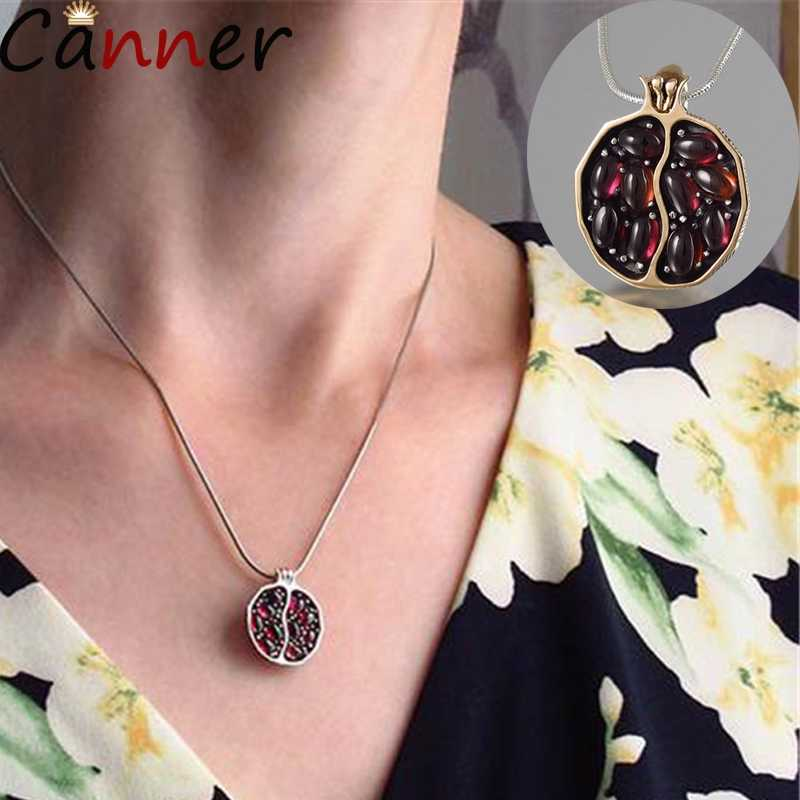 CANNER Long Pendant Necklaces Gold Natural Garnet Stone Necklaces For Women Pomegranate Fruit Necklaces Zircon Jewelry Collier 4