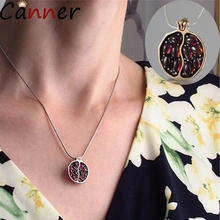 CANNER Long Pendant Necklaces Gold Natural Garnet Stone For Women Pomegranate Fruit Zircon Jewelry Collier 4
