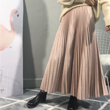 sherhure 2018 Top Suede Autumn High Waist Long Pleated Skirts Saias Faldas Vintage
