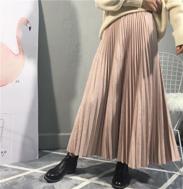 2019 Hot Brand High Quality Women Suede Skirt Autumn High Waist Long Pleated Skirts Womens Saias Faldas Vintage Women Midi Skirt
