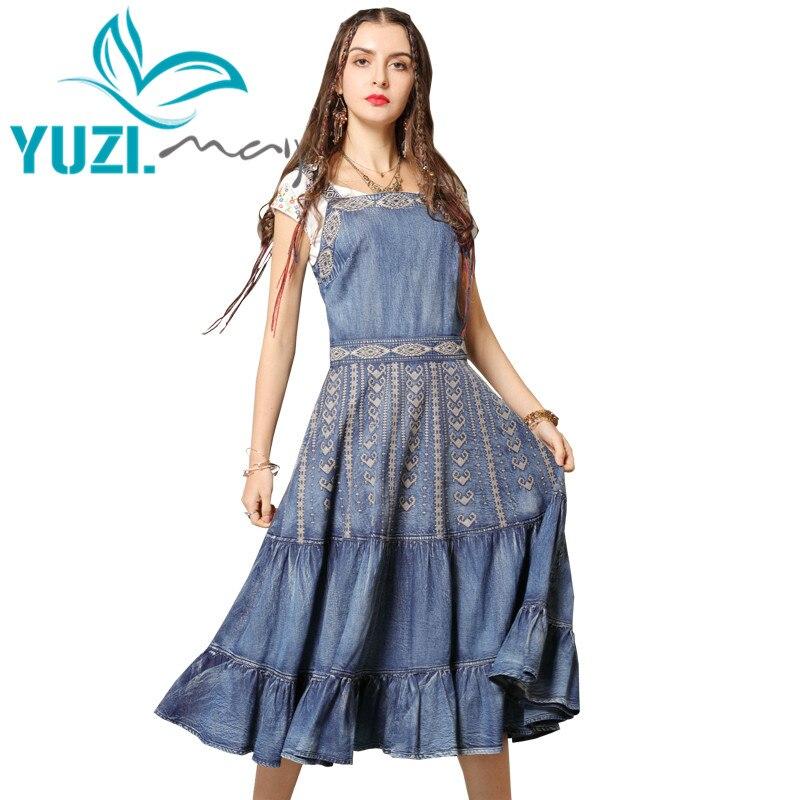 여름 드레스 2019 yuzi. may boho 새로운 데님 vestidos 슬래시 목 민소매 빈티지 자수 주름 장식 드레스 여성 a82139-에서드레스부터 여성 의류 의  그룹 1