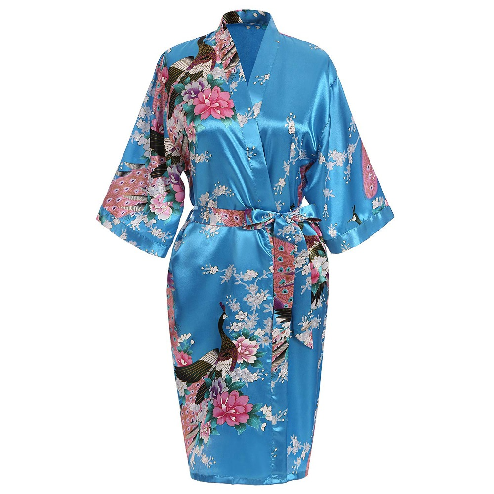 Noble Gold Bridesmaid Bride Wedding Robes Kimono Robe Bath Gown Classic Mini Satin Sleepwear Plus Size Print Peacock Homedress in Robes from Underwear Sleepwears