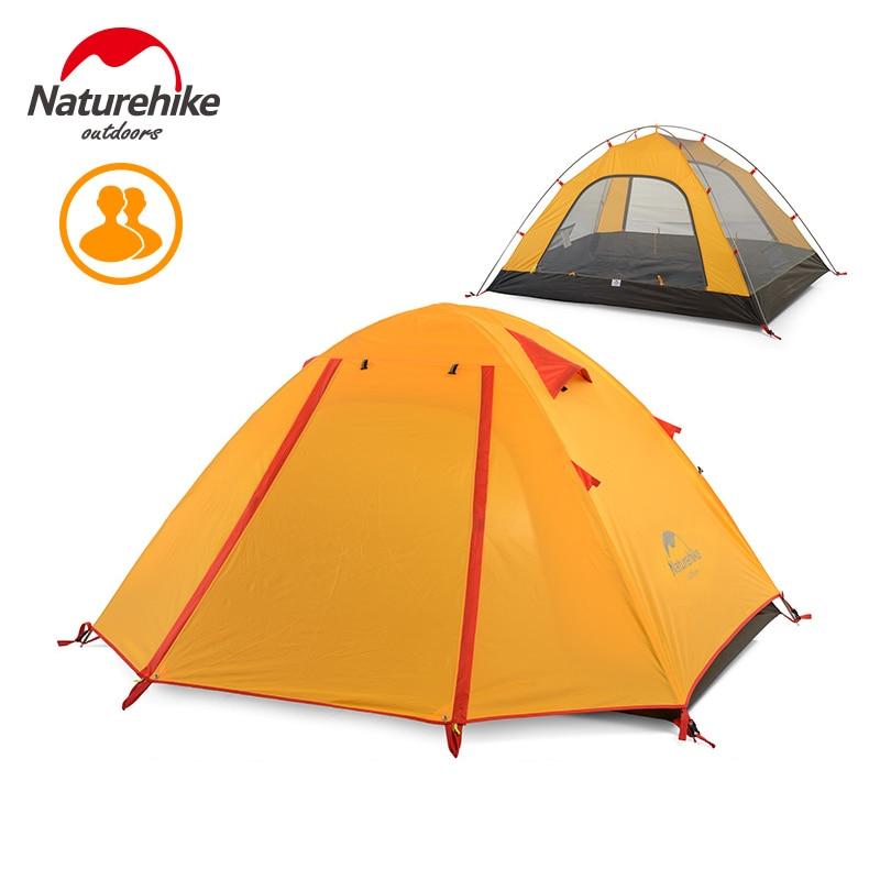 Naturehike Camping En Plein Air Tente 2-4 Personne Mât En Aluminium Étanche 5000mm Double Couche Randonnée Voyage De Pêche Tentes