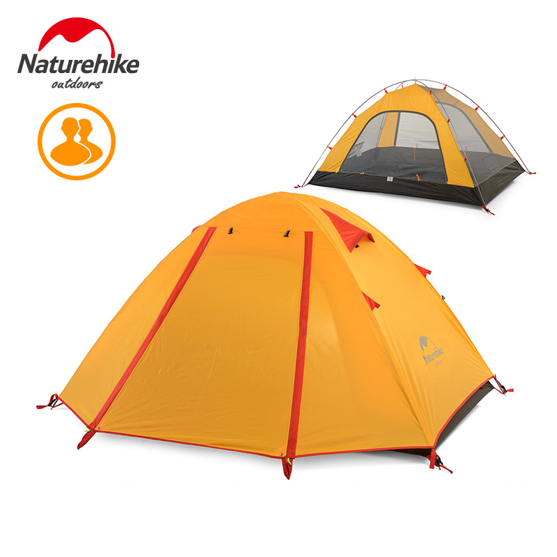 Naturehike Outdoor Camping Tent 2 - 4 Person Aluminum Pole Waterproof 5000mm Double Layer Hiking Travel Fishing Tents good quality flytop double layer 2 person 4 season aluminum rod outdoor camping tent topwind 2 plus with snow skirt