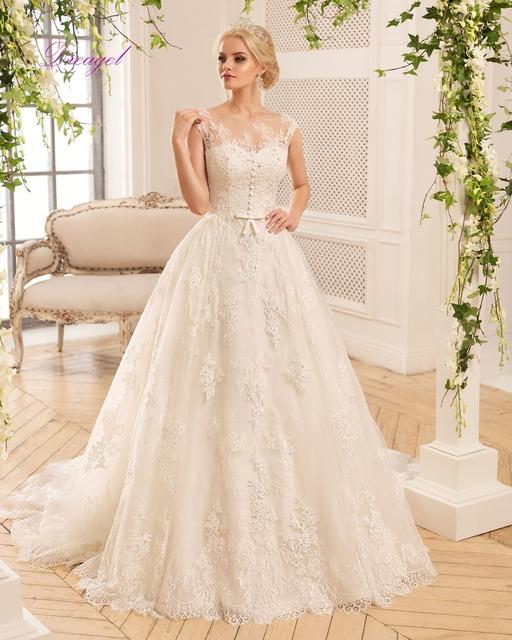 Dreagel New Arrival Elegant Princess Appliques Beaded Wedding Dress 2017 Exquisite Buttons Lace Up Bridal Dress Vestido de Noiva