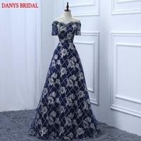 Sexy Marineblau Lange Abendkleider Partei Eine Linie Frauen Schöne Prom Formal Abendkleid Kleid für Hochzeit auf Verkauf