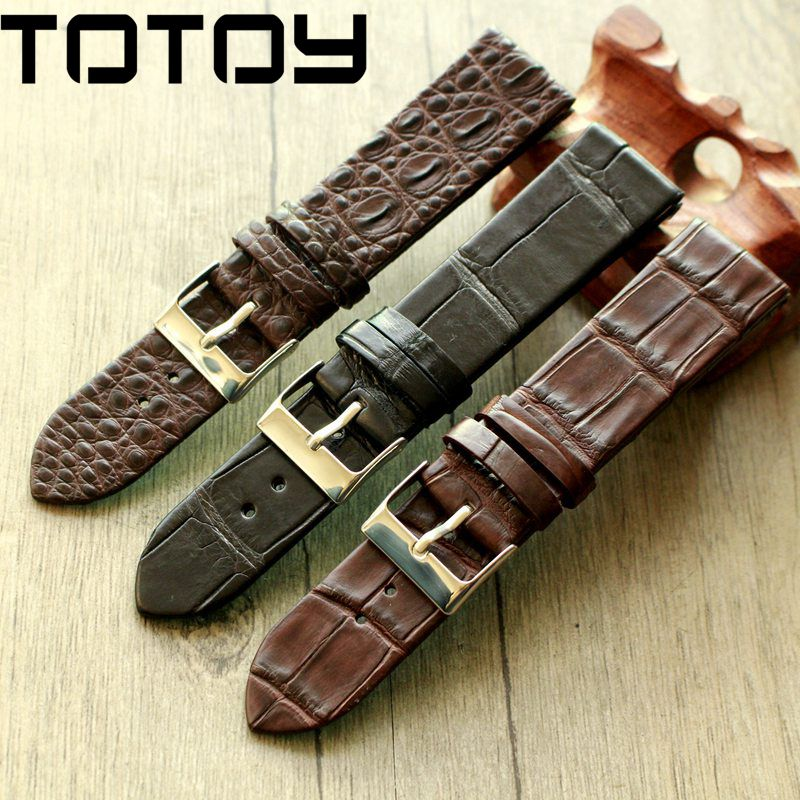 TOTOY Handmade Crocodile Leather Watchbands,Matching Antique Rretro Watchbands, 18 20 22MM Leather Men's Strap, Fast Delivery-in Watchbands from Watches