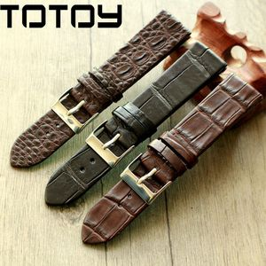 Image 1 - TOTOY Handmade Crocodile Leather Watchbands,Matching Antique Rretro Watchbands, 18 20 22MM Leather Mens Strap, Fast Delivery