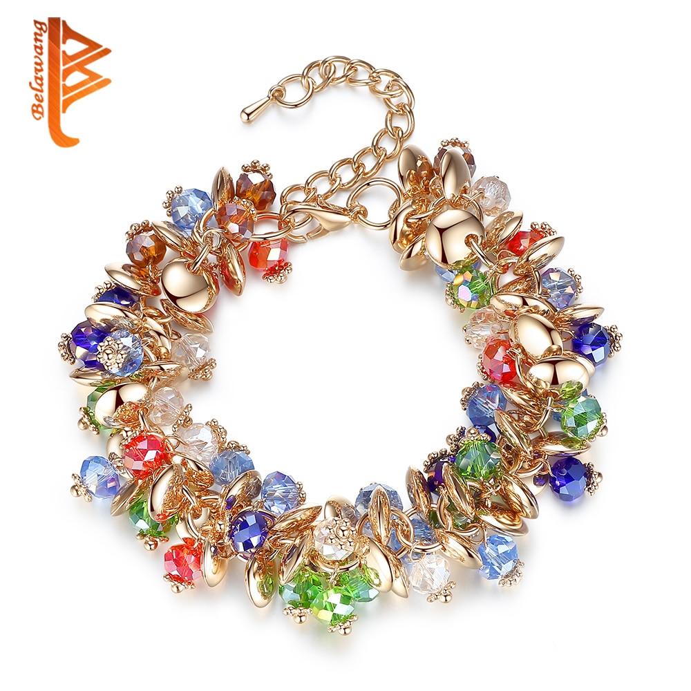 BELAWANG 2019 Fashion Charm Bracelets & Bangles Fashion Crystal Stone Gold Bracelet For Women Friendship Bracelets Femme Jewelry