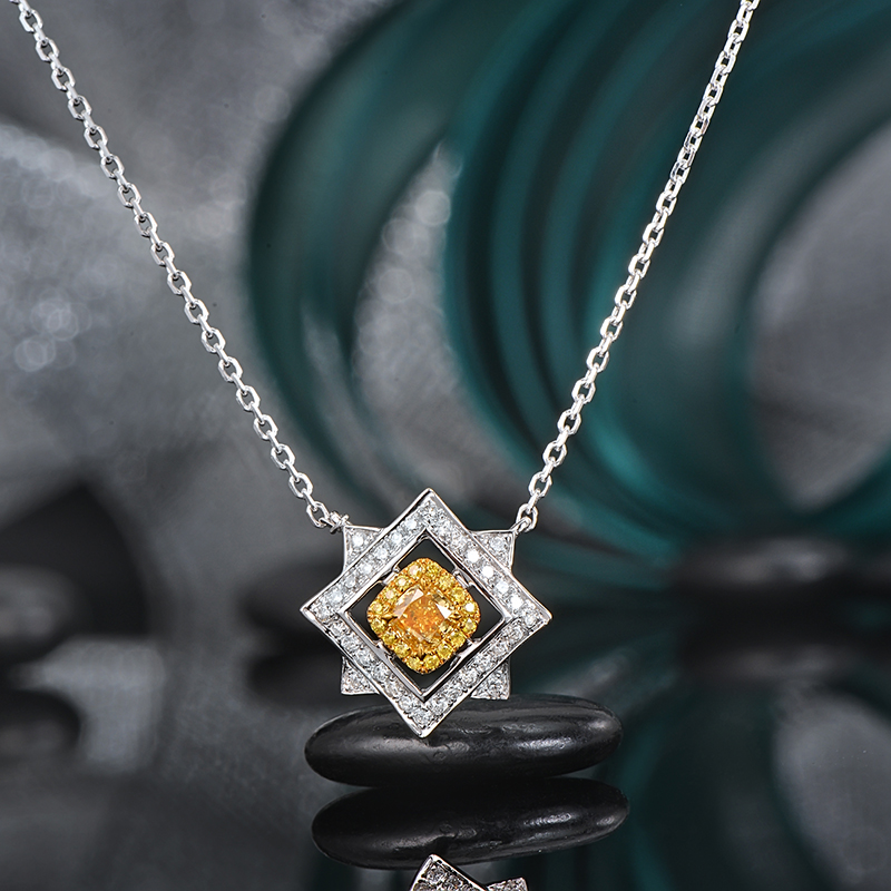 0.26ct Cushion Fancy Yellow Diamond with Round Diamond 18K Mul-ti Tone Gold Pendant With Chain bk 4371 18k alloy crystal artificial fancy color diamond pendant necklace golden 45cm