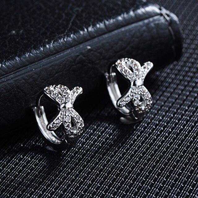 Купить серьги кольца todorova с бантом и фианитами круглые маленькие