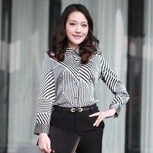 Mulberry silk long-sleeve shirt formal stripe shirt silk shirt female top