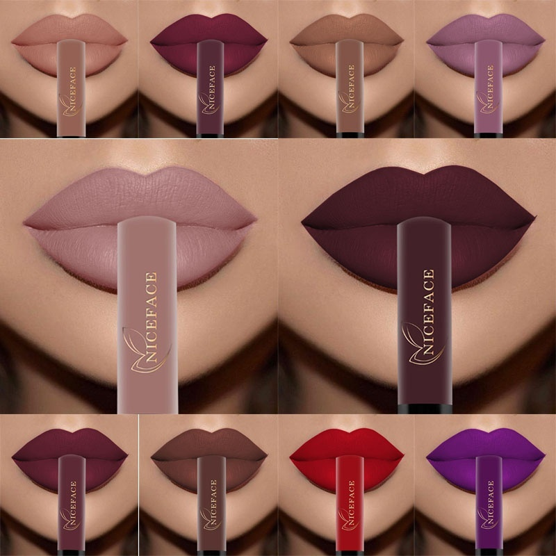 Waterproof Lip Gloss Long Lasting Nude Matte Lipstick Kit Velvet Red Liquid Lipstick Lipgloss Cosmetics Lip Stick Makeup Set