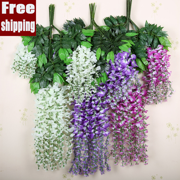 5pcslot short or long style artificial flowers simulation 5pcslot short or long style artificial flowers simulation wisteria vine wedding decoration plastic silk flower pots planters in artificial dried flowers junglespirit Choice Image
