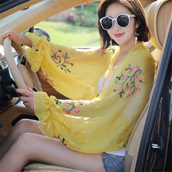 Floral Embroidery Bow Tie Scarves Summer Chiffon Poncho Cape Women Elegant Ruffle Long Sleeve Shawl Female Silk Scarf Sunscreen universal 61mm 51mm motorcycle modified exhaust muffler pipe adapter reducer connector pipe tube for honda nc750x hornet 600 900