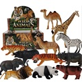 Free Ship 12Pcs Jungle Wild Animals Toy Figures Panda Camel Elephant Zebra Leopard Tiger Lion Giraff for Children With no Box