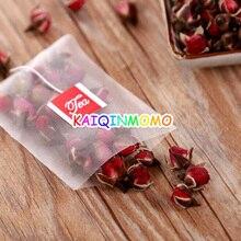 1000pcs/lot Nylon Pyramid Tea Filters Tea Bags Bag Single string with label Transparent Empty Teabags 5.6*7cm 6.5*8cm