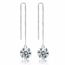 Shining Cubic Zirconia 925 Silver Long Wave Dangle Exquisite Round Crystal Ladies Earrings Party Birthday Gift