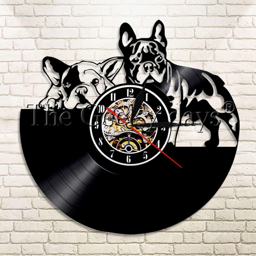 1Piece Lovely French Bulldog Vinyl Record Wall Clock ...