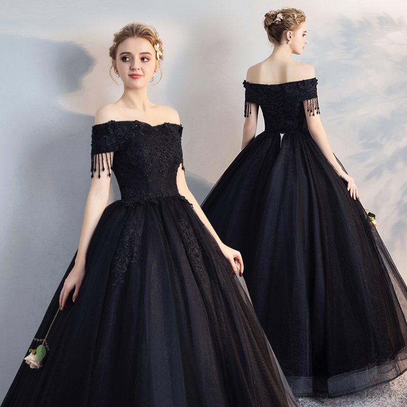 100%real new black organza tassels beading  cosplay medieval dress  Renaissance ball gown princess Victorian/can customs size