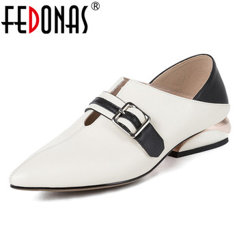 FEDONAS 2020 Classic Women Genuine Leather Pointed Toe Pumps Summer Shallow Shoes Woman Fashion Party Casual Office Ladies Shoes