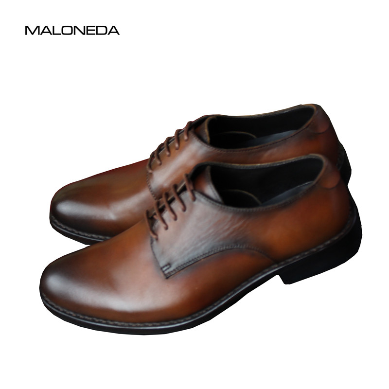 MALONEDA Bespoke Handmade Men's Derby Leather Shoes Fashion Genuine Leather Formal Dress Shoes Making With Goodyear Welted