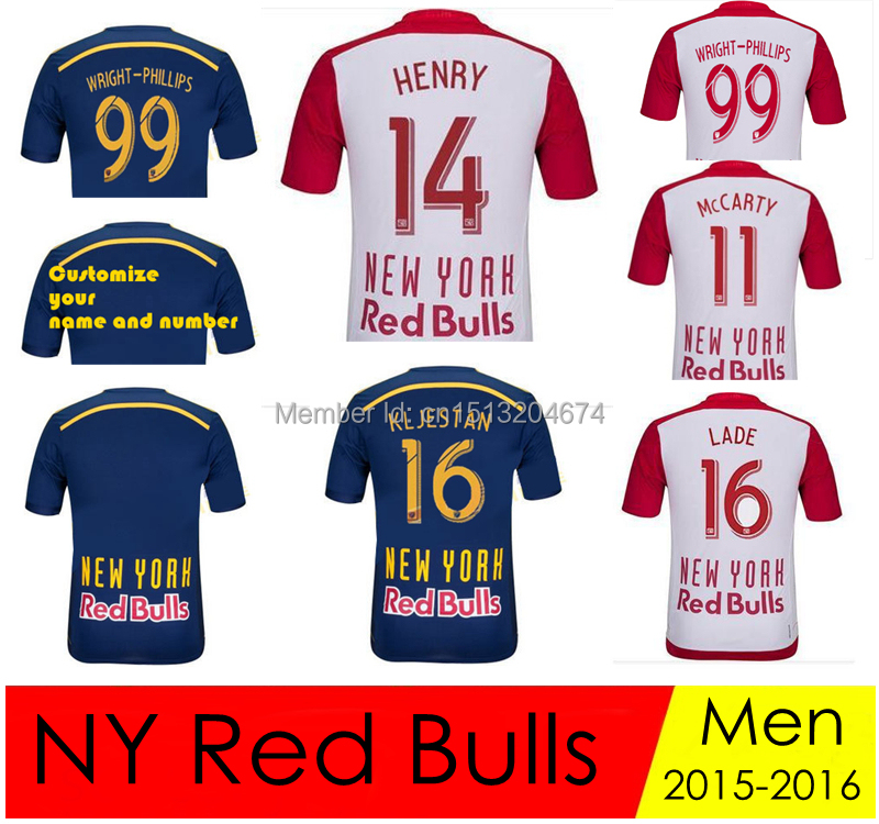fb495a442 A+++ Quality THIERRY HENRY New York Red Bulls Jersey 2015 2016 WRIGHT  PHILLIPS Football Shirt CAHILL MCCARTY LADE Soccer jersey