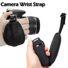 Universal Kamera Hand Grip Handgelenk Strap PU Leder Stablizer Schnur Seil Durchführung Gürtel Schwarz für Nikon Canon Sony DSLR Kameras