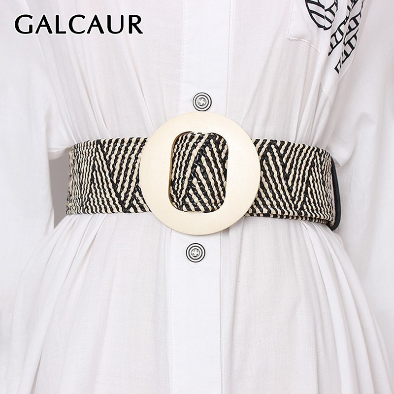GALCAUR High Waist Slim Wide Belt For Women Striped Belts Female Vintage Dresses Accessories Fashion New Tide Summer 2019