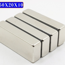 16 шт. Магнит N50 50*20*10 большой объем супер сильные полосы блок магниты редкоземельный неодимовый магнит 50x20x10