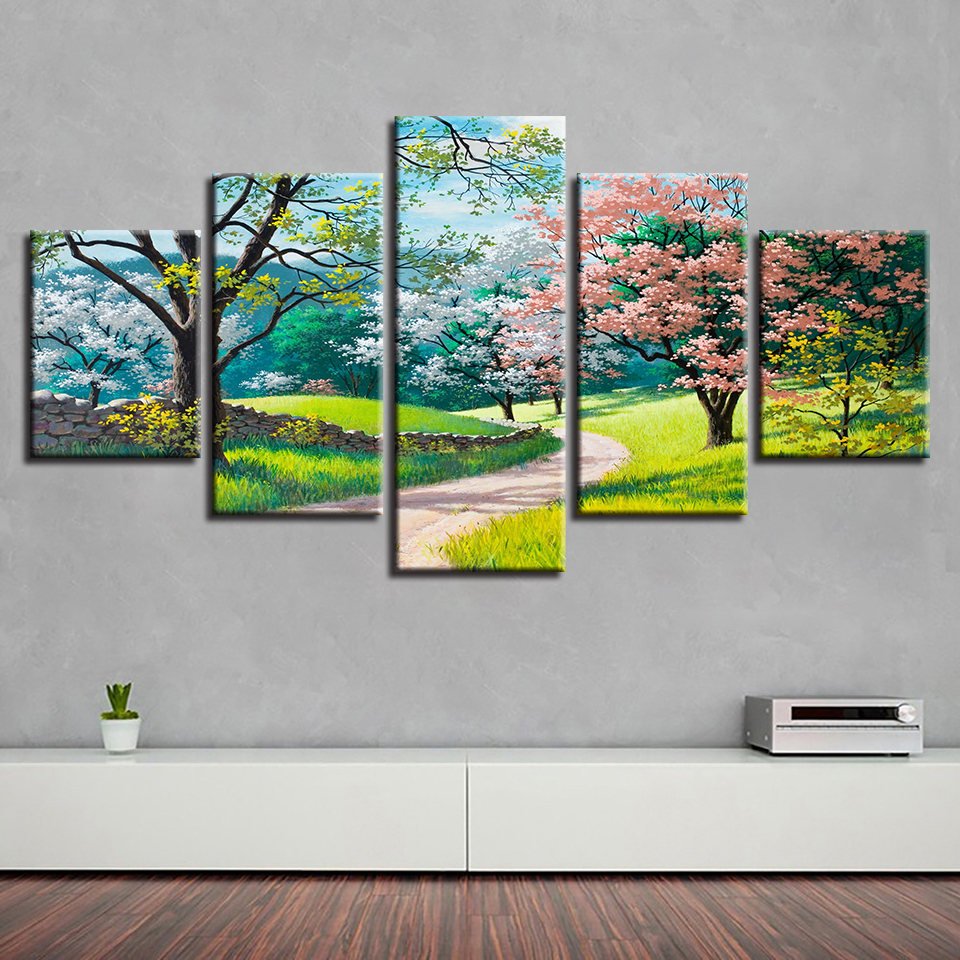 HD Prints Decor Wall Modular Canvas Painting 5 Pieces Green Trees Flowers Grass Path Spring Natural Scenery Picture Poster Art