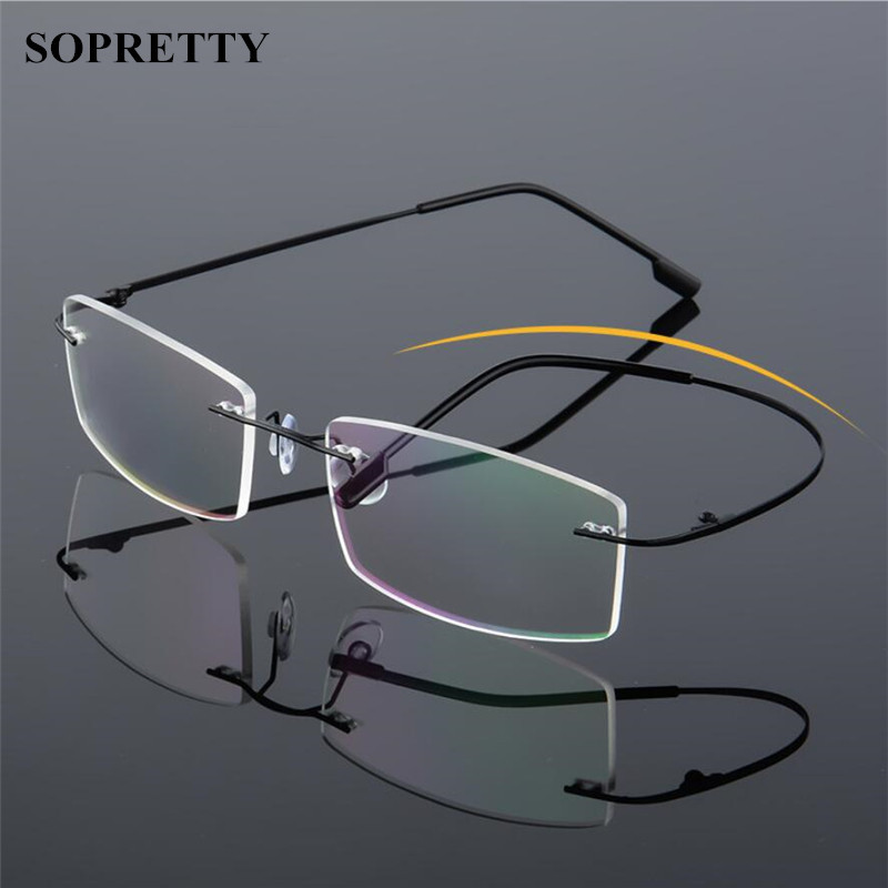 Classic Mens Titanium Rimless Glasses Frames , Spring Temple Myopia Optical Frame , Ultra-light Frameless Eyeglasses A858