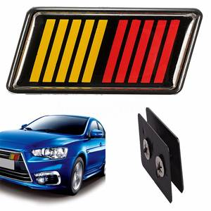 JXLCLYL Red Yellow Black Ralliart Stripe Bar Grille Emblem Badge For Mitsubishi