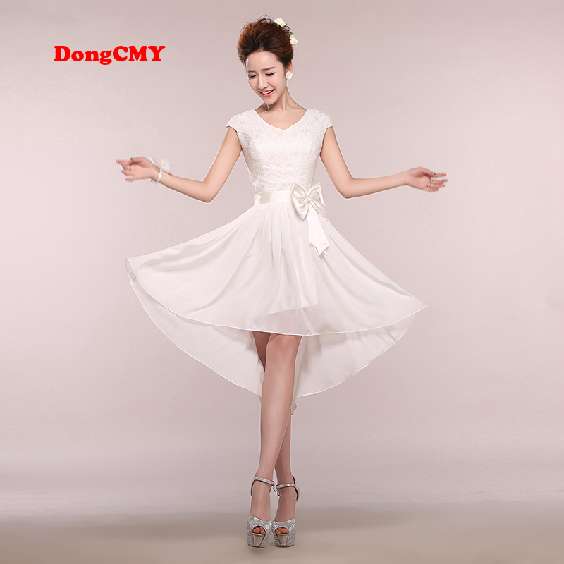 DongCMY 2017 new sleeveless Zipper white color Ankle-Length bride girls   Bridesmaid     dresses