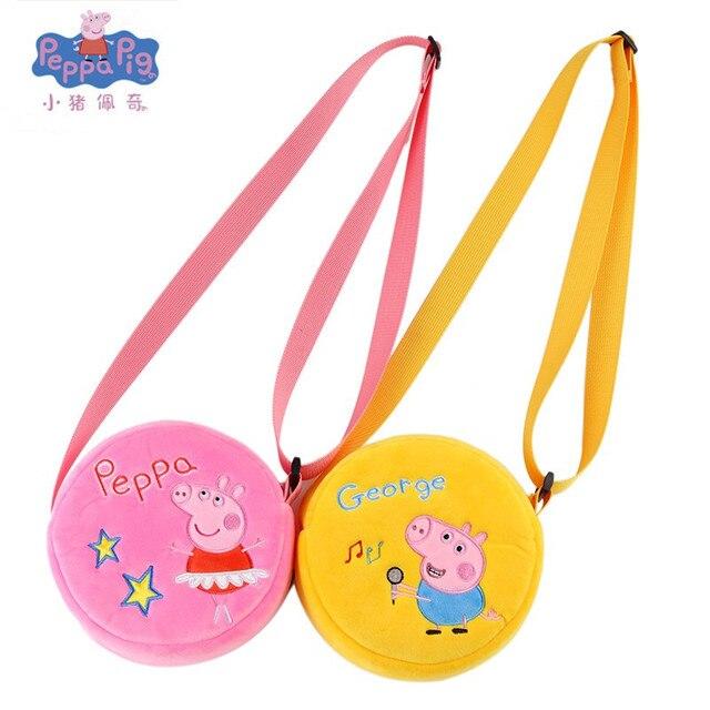 New genuine 16 cm Genuíno saco Rosa Peppa Pig George porco de pelúcia Mochila venda quente Animais mochila Para Crianças presente de aniversário
