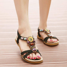New Women Sandal Fashion Sweet Beaded Clip Toe Flats Bohemian Herringbone Sandals Non-slip rubber soles Solid summer shoes