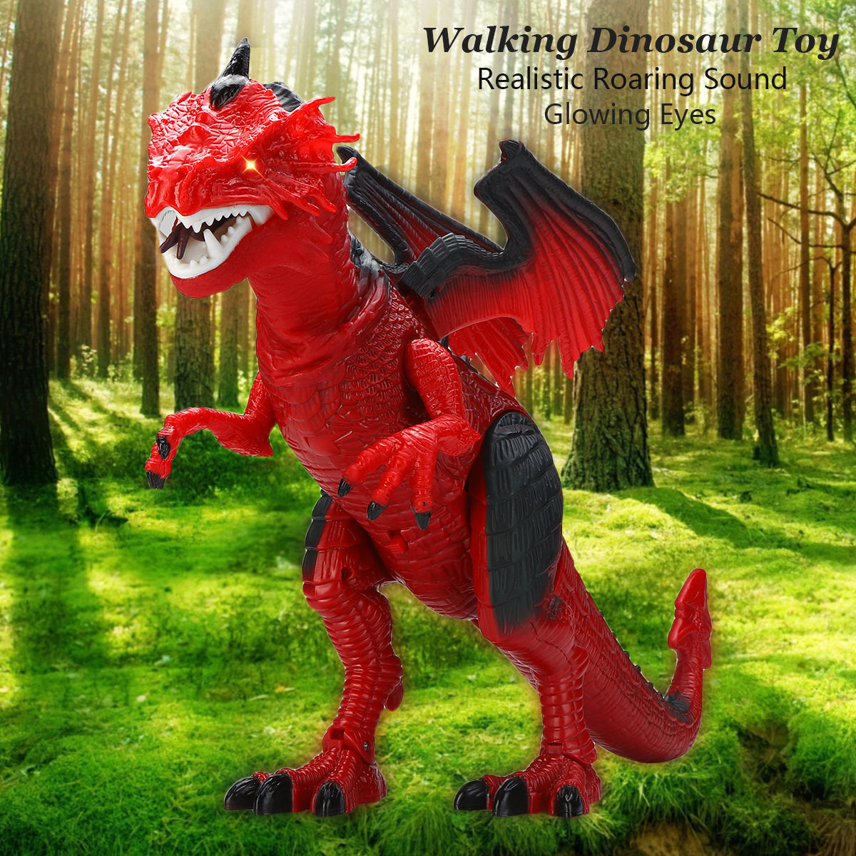 Electronic Pets 2017 New Children Electric Toy 6613 48cm Large Size Double Headed Dragon Wings Electric Dinosaur Walking Music With Cool Light Toys & Hobbies