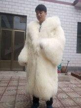 الرجال والنساء طويلة منغوليا الأغنام الفراء معطف كبير حجم الشاطئ الصوف الفراء معطف فراء الخروف خارجية البوق الأكمام
