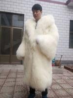 Men and women long mongolia sheep fur coat large size beach wool fur overcoat lamb fur outerwear trumpet sleeves