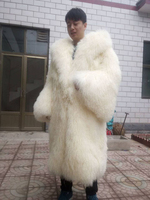 Men and women long mongolia sheep fur coat large size beach wool fur overcoat lamb fur outerwear trumpet sleeves